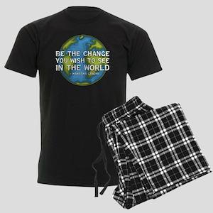 gandhi_earth_bethechange_dark Men's Dark Pajamas