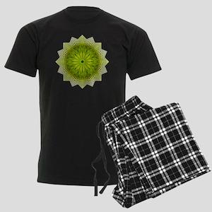 Green Flower Heart Chakra Mand Men's Dark Pajamas