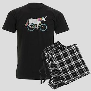 Unicorn Riding Bike Men's Dark Pajamas