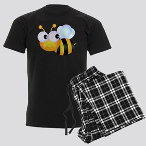 Cute Cartoon Bumble Bee Men's Dark Pajamas