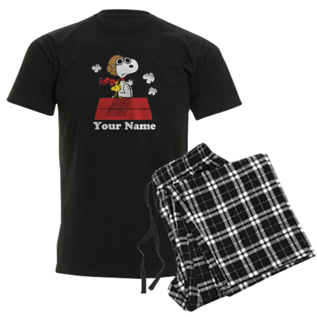 Peanuts Flying Ace Personalize Men's Dark Pajamas