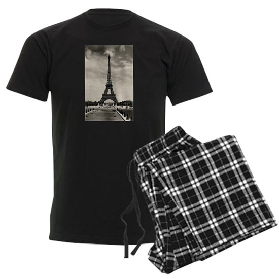 Vintage Eiffel Tower Men's Dark Pajamas