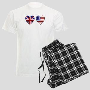 USA UK Hearts on White Men's Light Pajamas