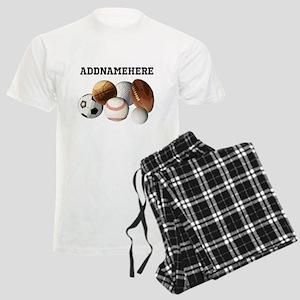Sports Balls, Custom Name Men's Light Pajamas