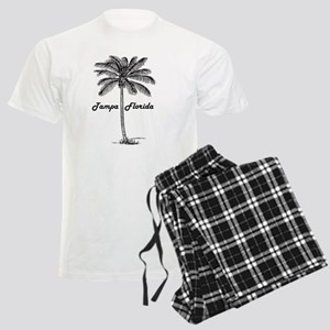 Black and White Tampa & Palm Men's Light Pajamas