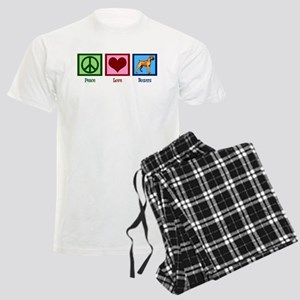 Peace Love Boxer Dog Men's Light Pajamas