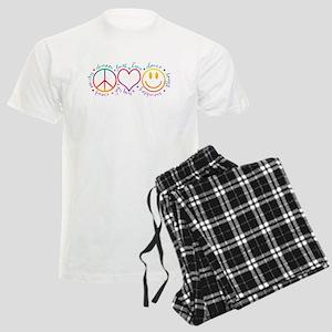 Peace Love Laugh Men's Light Pajamas