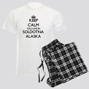 Keep calm you live in Soldotn Men's Light Pajamas