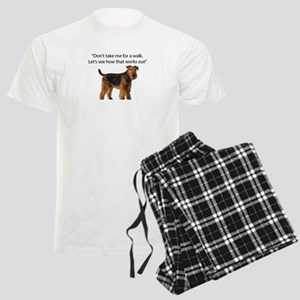 Airedale Terrier Getting Read Men's Light Pajamas