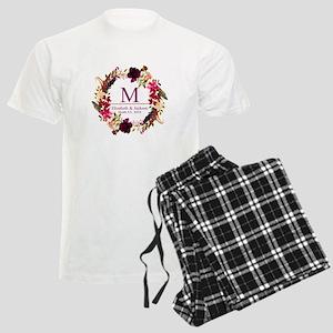 Boho Wreath Wedding Monogram Pajamas