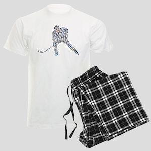 Hockey Player Typography Men's Light Pajamas