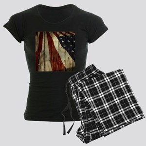 wood grain USA American flag Women's Dark Pajamas