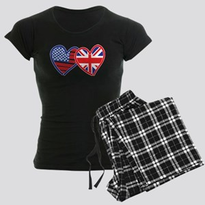 American Flag/Union Jack Hear Women's Dark Pajamas