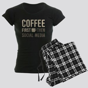 Coffee Then Social Media Women's Dark Pajamas