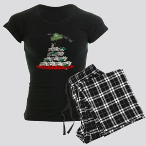 Funny Sheep Christmas Tree Women's Dark Pajamas