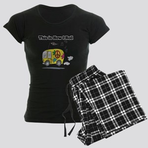 How I Roll (Hippie Bus/Van) Women's Dark Pajamas