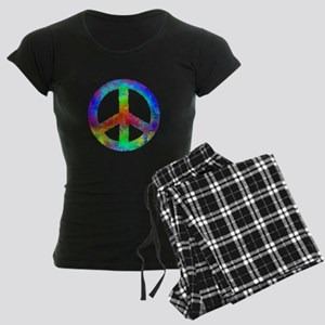 Multicolored Peace Sign Women's Dark Pajamas