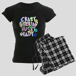 Crazy Siberian Husky Lady Women's Dark Pajamas