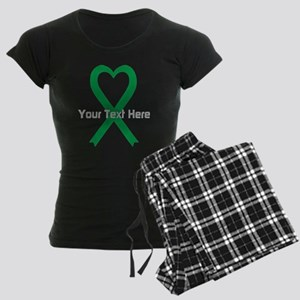 Personalized Green Ribbon He Women's Dark Pajamas