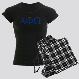 Alpha Phi Omega Letters Blue Women's Dark Pajamas