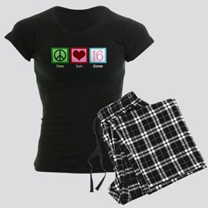Peace Love Sweet 16 Women's Dark Pajamas