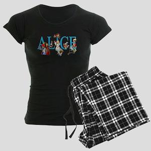 ALICE & FRIENDS IN WONDERLAN Women's Dark Pajamas
