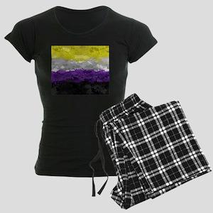Non-Binary Paint Splatter Fl Women's Dark Pajamas
