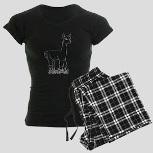 Adorable Alpaca White Outline Women's Dark Pajamas