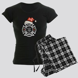 Firefighter Santa Women's Dark Pajamas