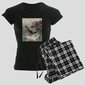 Vintage Fishing, Rainbow Tro Women's Dark Pajamas