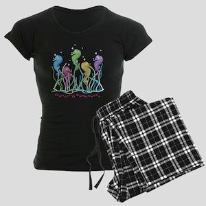 Dancing Seahorses Design Women's Dark Pajamas