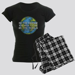 gandhi_earth_bethechange_dar Women's Dark Pajamas