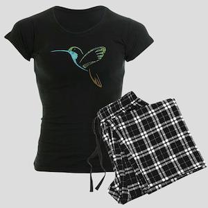 Blue and Green Patchwork Hummingbird Women's Dark