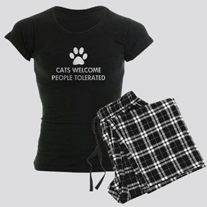 Cats Welcome People Tolerated Women's Dark Pajamas