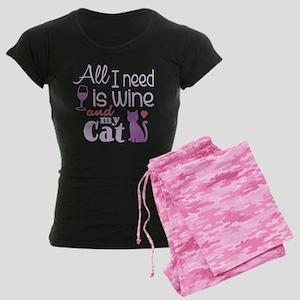 Wine Cat Ii Women's Dark Pajamas