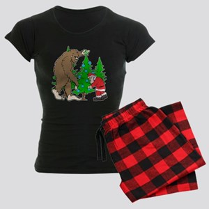 Bigfoot, Santa Christmas Women's Dark Pajamas