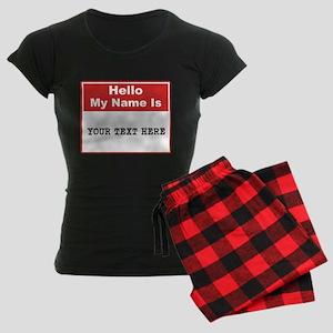 Custom Name Tag Women's Dark Pajamas