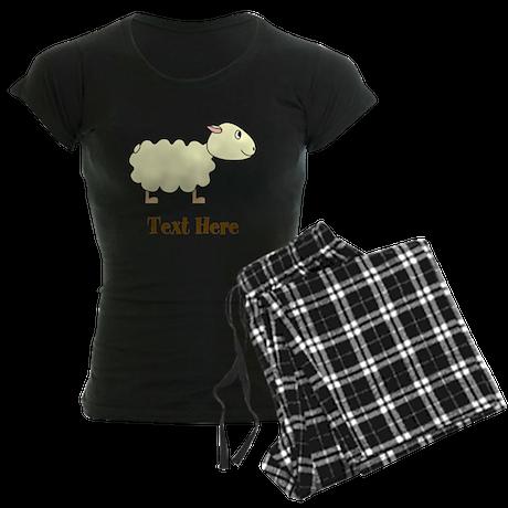 Sheep Cartoon with Custom Tex Women's Dark Pajamas