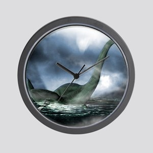 Loch Ness monster, artwork Wall Clock