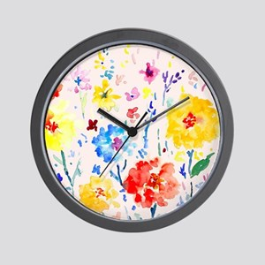 Watercolor Abstract Poppy Pink Backgrou Wall Clock