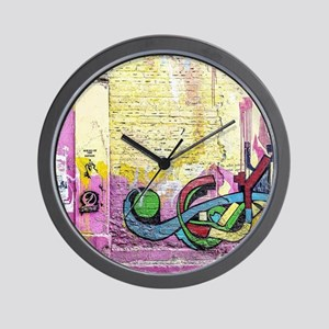Neon Yellow & Pink Graffiti Wall Clock