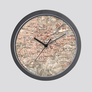 Vintage Map of Stuttgart Germany (1909) Wall Clock