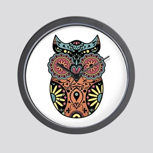 Sugar Skull Owl Color Wall Clock