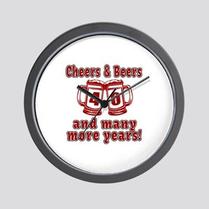 Cheers And Beers 40 And Many More Years Wall Clock