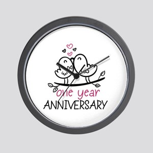 1st Anniversary Cute Couple Doodle Bird Wall Clock