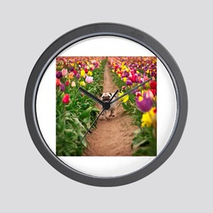 Pug in the Tulips Wall Clock