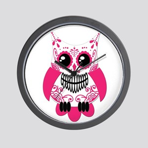 Hot Pink White Sugar Skull Ow Wall Clock