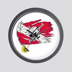 Red Dive Flag Skull Wall Clock