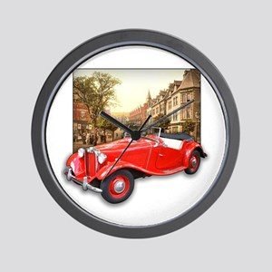 Red MG TD Roadster Wall Clock