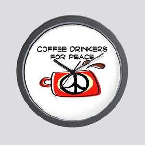 COFFEE DRINKERS FOR PEACE Wall Clock